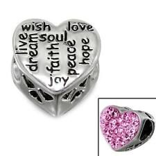 925 Sterling Silver Wish/Faith/Dream/Peace Heart Gems Charm Bead Gift Boxed B329