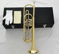 Professional Rotary Valves Bass Trumpet Gold Bb Keys Horn With Case Mouthpiece
