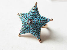 Unique Rose Gold Plated 925 Sterling Silver Turkish Turquoise Ring Sz 6 Adjust