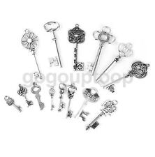 14x Mixed Victorian Key Charms Antique Silver Alloy Pendants Findings Crafts