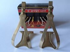 *NOS Vintage 1980s Georges Sorel Gold anodised Alu pedal toe clips - Medium*