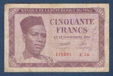 MALI - CINQUANTE FRANCS Pick n° 1 du 22-SEPTEMBRE-1960 en TB  E 56 176091