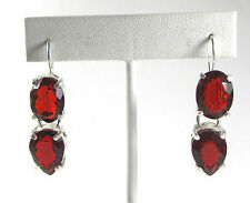 Designer 20ct Created Ruby 4 Stone Drop Cocktail Earrings Sterling Silver