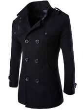 Men's Slim Fit Wool Blends Double Breasted Long Trench Coat Outerwear Peacoat