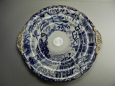 "Royal Crown Derby Blue Mikado Cake Plate 9 1/2"". Gold trim."