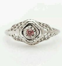 Antique 1930s .20ct Old Euro Genuine PINK Diamond 14k White Gold Filigree Ring