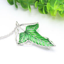 The Elf Prince Lord of The Rings Green Elven Leaf Brooch Pendant Necklace LOTR