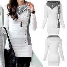 Women Casual Long Sleeve Bodycon Dress Winter Long Jumper Top Sweatshirt Sweater