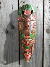 Fair Trade Hand Carved Made Wooden Tribal Bird Ethnic Tiki Wall Art Hanging Mask