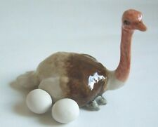 * High Quality Handmade Animal Miniature Ceramic Ostrich with eggs Figurine *
