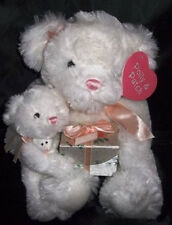 RBI POLLY & PATCH Plush 3 White Bears Pink Bows w/ Gift Box & Tags Super