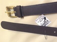 Gucci Dark Brown Leather Slim 1'' Belt Mens size 90 36 Made in Italy NWT