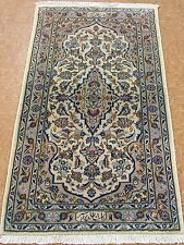 2 x 4 PERSIAN KASHAN Signed SHADSAR Hand Knotted Wool IVORY BLUE Oriental Rug