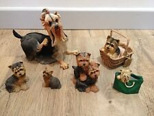 6 YORKSHIRE TERRIER YORKIE DOG PUPPY FIGURINES ORNAMENTS BREED APART TIXIE