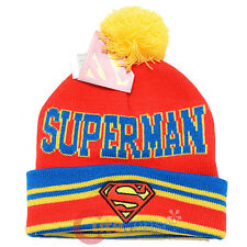 DC Comics Superman Logo Cuff Beanie Hat with Pom Pom Ball  - Red Super Man Cap