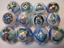 MASON MASONIC MASONS FREEMASON GLASS MARBLES 5/8 SIZE collection lot with STANDS