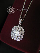 Crystal Square Pendant Necklace/White Gold Plated/Swarovski Elements /RGN253S