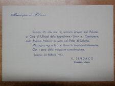 Invito sindaco FRANCESCO ALARIO Salerno 1953 torpediniere SIRIO CASSIOPEA Porto