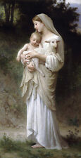 Nice Oil painting Bouguereau - Innocence Virgin Madonna & child Christ sheep 36""