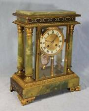 Antique French Champleve & Green Onyx Crystal Clock~Hand Painted Pendulum 1800's