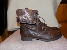 SCHUTZ womens boots size 7 brown/gold details leather mid calf lace up brand new