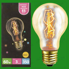 2x 60W Antique Vintage Gold GLS Dimmable Light Bulbs Edison Screw ES E27 Lamps