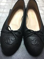 Authentic Chanel Ballerinas flats CC Caviar Skin Size 7.5us 37.5
