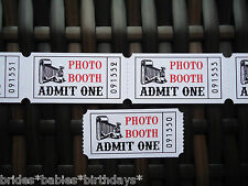 20 Kraft White Red Admit One Photo Booth Tickets Wedding Favour Birthday Party