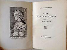 """LIBRO ANTICO BROSSURE """"VITA DI COLA DI RIENZO"""" ANONIMO ROMANO 1957"""