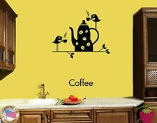 Wall Stickers Vinyl Decal Coffee Good Morning Cup And Birds For Kitchen (z1790)