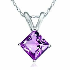 "Princess Cut Genuine Amethyst Pendant With 14k Solid White Gold 18"" Chain"