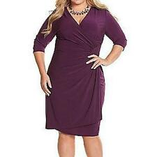 LANE BRYANT CIARA CINCH FAUX WRAP DRESS BY KIYONNA sz 1X (14/16) purple