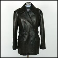 Womens VTG 80s DOUBLE BREASTED LEATHER TRENCH PEA COAT JACKET oversized 12/14/16