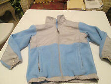 Girl's The North Face Full Zip Denali Fleece Jacket Youth Size M Light Blue Gray