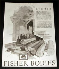 1926 OLD MAGAZINE PRINT AD, FISHER CAR BODIES USE HARDWOOD, LUMBER, SAWMILL ART!