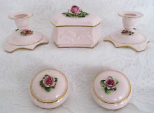 VINTAGE c1940s ADDERLEY FLORAL CHINA 5 PCE PINK ROSES LADIES DRESSING TABLE SET