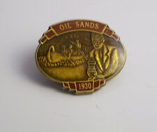 OIL SANDS 1930 LAPEL PIN JUNIPER LACOMBE ALTA.CAN ON BACK PETROLEUM