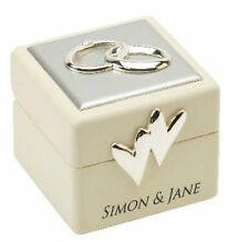 Personalised Wedding Ring Box Amore Wedding Ring Bearer Box with Icon & Crystals