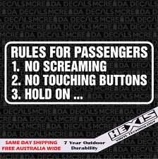 Rules For Passengers Sticker Decal Funny For Race Drift Car Jdm Lowered Stance