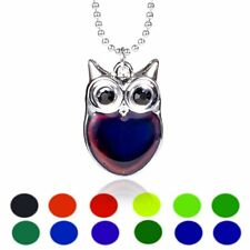 Owl Sensitive Liquid Gem Thermo Mood Changing Color Pendant Choker Necklace