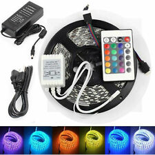 5M RGB 5050 Waterproof LED Strip light 300 SMD 24 Key Remote 12V Supply Power US
