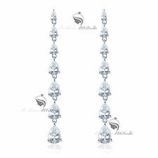 18k white gold gp made with SWAROVSKI crystal stud earrings dangle 925 silver