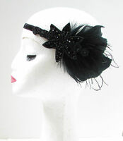 Schwarz Feder Kopfteil Große Gatsby Flapper Stirnband 1920s Deko Haarband W59
