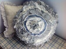 Shabby Chic Round Ruffled Cushion Throw Pillow Blue & White