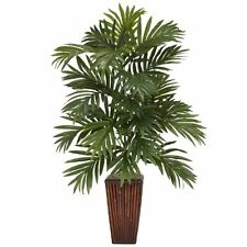 Nearly Natural 6675 Areca Palm with Bamboo Vase Decorative Silk Plant- Green NEW