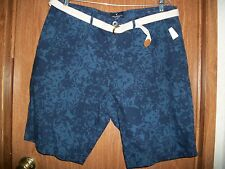 NWT AMERICAN EAGLE BLUE BELTED PREP FIT SHORTS Size 32