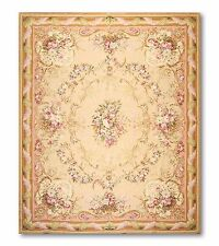 8X10 wool Handmade French Needlepoint Aubusson Chic Area rug Flat pile 8' x 10'