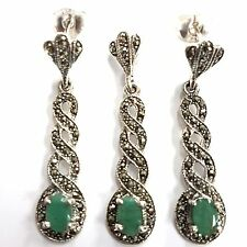 GREAT ART DECO STYLE EMERALD MARCASITE SET PENDANT EARRING 925 STERLING SILVER