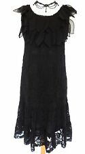 GOTHIC BLACK ROSE LACE DRESS ROMANTIC PETALS VINTAGE VICTORIANA DARK FAIRY 14