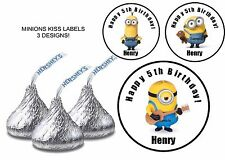MINIONS Birthday Party Favor Hershey KISS LABELS Stickers